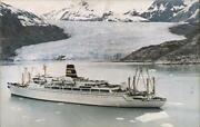 1973 Pacific Far East Line,ss Mariposa And Ss Monterey,cruising Glacier Bay,alas