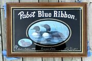 Vintage Pabst Beer Common Loon Wildlife Collection Bar Mirror Sign 1991