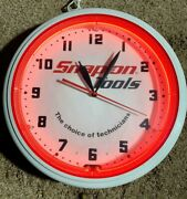 Snap On Tools Large Industrial Neon Clock. Very Rare Collectors Piece..