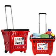 Dbest Products Gocart Red Grocery Cart Shopping Laundry Basket On Wheels