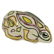 Shearwater Pottery Colorful Crouching Rabbit Figurine