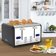 4 Slice Toaster Keenstone Stainless Steel Toasters With Timer Wide Slot Bagel
