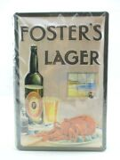 Tin Sign Fosters Lager Beer Metal Sign 11 13/16in Nostalgia Metal Shield New