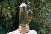 Beautiful Old Stitze With Tin Lid Glass Jug Rare 12 5/8in