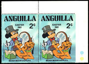 Anguilla 435v - Disney Pluto And Mickey Mouse Imperf On Right Margin Pf54996