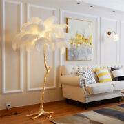 Luxury Ostrich Feather Floor Lamp Resin Brass Gold Standing Living Room Decorate