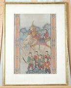Vguc Antique 18th/19th C. Thailand Framed Hand Painted Elephant On Fabric 1