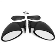 1pair F1 Style Abs Racing Car Side Wing Plane Rearview Mirrors Adjustable Black