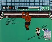 Mike Tyson Charles Martinet Signed Punch Out 16x20 Photo Here We Go' Psa Ai81220