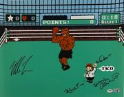 Mike Tyson Charles Martinet Signed Punch Out 16x20 Photo Mario Time' Psa Ai81198