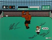 Mike Tyson Charles Martinet Signed Punch Out 16x20 Photo Mario Time' Psa Ai81200