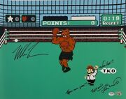 Mike Tyson Charles Martinet Signed Punch Out 16x20 Photo Let's Go Psa Ai81216