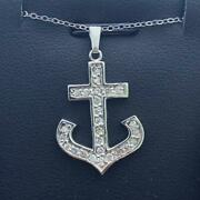 14k White Gold And Diamonds Anchor Design Pave Hand Made Nautical Necklace Gift