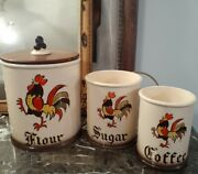 Vintage Flour Sugar Coffee Canisters Metlox Poppytrail Red Rooster
