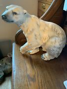 Vintage Beautiful Huge White Chalkware Polar Bear Statue With Free Shipping