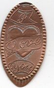 Elongated Souvenir Penny I Love You Small Lace Style Heart Z 127a