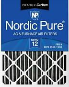 Nordic Pure 16x25x4 Merv 12 Pleated Plus Carbon Ac Furnace Air Filters 6 Pack