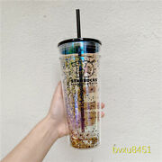 Starbucks China 591ml Double Wall Glass Cup Straw Tumbler Gold Glitter Sequins
