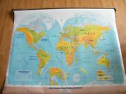 Pull Down Roll Up World Wall Map...physical-political