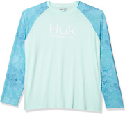 Huk Menand039s Current Camo Double Header Fishing Long Sleeve Shirt