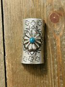 Lee Kingman Turquoise And Sterling Silver Ponytail Holder Signed