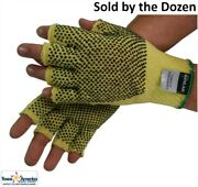 Kev Lar String Knit Gloves Fingerless With Dots Both Sides Sold By Dozen