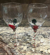 Two Pier 1 Optic Red Green Bubble Swirls Stem White Wine Stems Goblets 9 1/8andrdquot