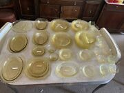 Huge Lot Of Vintage Antique 53pcs Yellow Amber Depression Glass Dinner Plate Cup