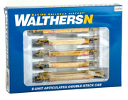 Walthers N Scale Ttx Dttx 5-unit Articulated Double-stack Well Car 929-8107