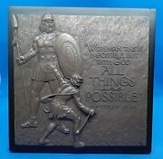 David And Goliath Resin Plaque Lighthouse Christian Prod. Model 11711