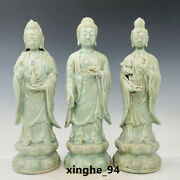 16.9 Old Antique Song Dynasty Ru Kiln Porcelain Three Holy Buddhism Statue