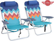 2pcs Outdoor Backpack Beach Chairs Folding Lay Flat Lounger With Headrest