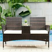 Outdoor Patio Furniture Set Wicker Loveseat With Cushion Rattan Patio Chairs