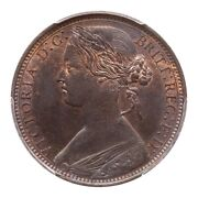 Great Britain Victoria 1868 1 Penny Coin Uncirculated, Certified Pcgs Ms64-bn