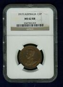 Australia 1917-i Half-penny Coin, Uncirculated, Certified Ngc Ms62-rb