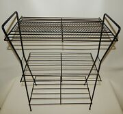 Vintage Mcm Atomic 3 Tier Wire Metal Plant Magazine Record Stand