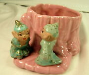 Vintage Gilner Pottery Kissing Pixies Planter Pink With Turquoise Pixies