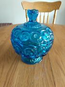 Stunning Vintage Le Smith Moon And Stars Blue Glass Footed Candy Dish W/lid