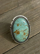 Robert Shakey Kingman Turquoise And Sterling Silver Adjustable Ring Size 8 Signed