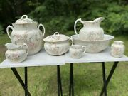 Antique Thomas Hughes And Son 7 Piece Victorian Chamber Set Hand Painted
