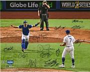 Dodgers 2020 Ws Champs Team Signed 16 X 20 Last Out Photo With 12 Sigs - 1/25