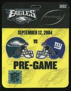Football Ticket 2004 New York Giants Eagles 9/12 Eli Manning Debut Field Pass