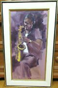 Richard Bagguley Saxophone Player African American Jazz Oil On Canvas Painting