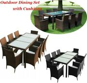 9piece Patio Outdoor Dining Sets 8 Poly Rattan Chairs W/ Cushion Glass Top Table