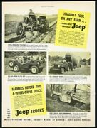 1949 Willys Jeep Cj2 Farm And Stakebed Truck Photo Vintage Print Ad