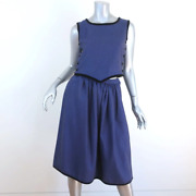 Vintage Valentino Boutique Matching Top And Skirt Set Dark Blue Wool Size 0