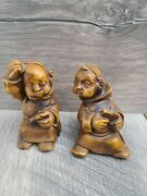 2 Vintage Legnoart Figurines Monks Playing Cards Made In Italy