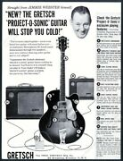 1958 Gretsch Project-o-sonic Electric Guitar Amp Jimmie Webster Photo Print Ad