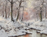 Winter Forest Landscape Oil Painting Wall Art Hd Giclee Printed On Canvas P476