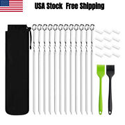 15pcs Bbq Grill Tools Skewers Brush Stainless Steel Barbecue Outdoor Usa New